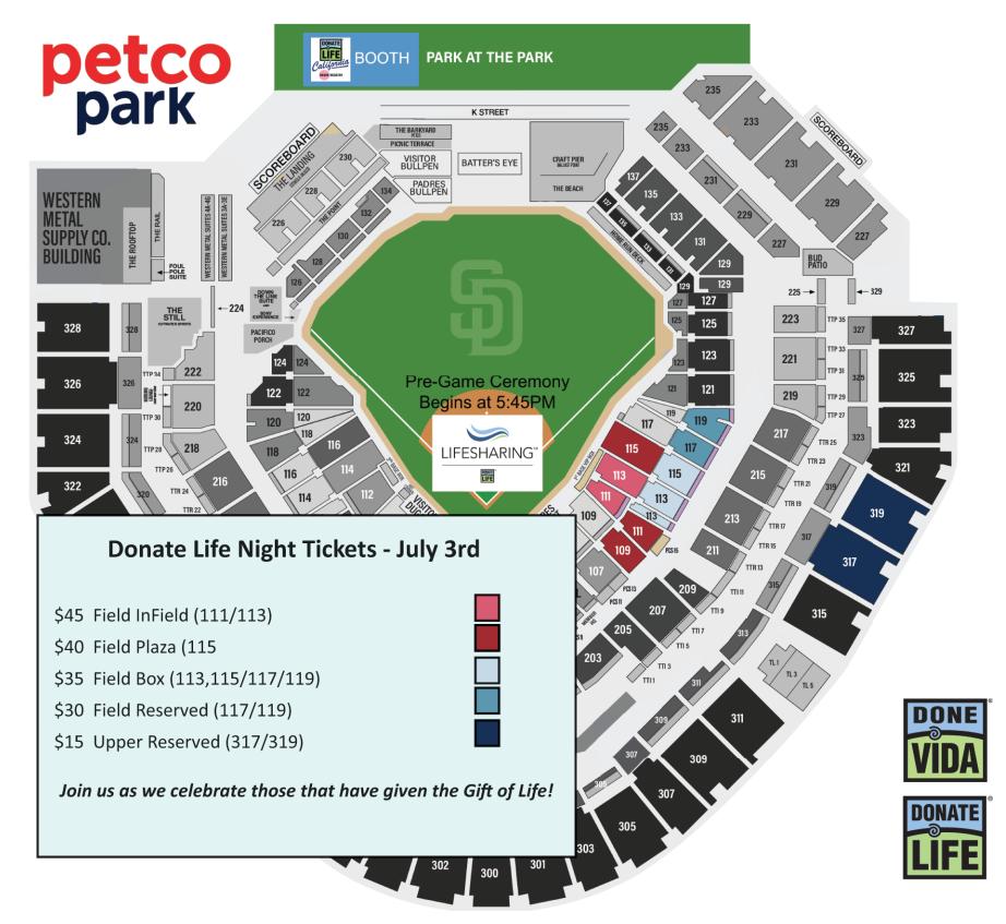 Padres 2019 Seat Map